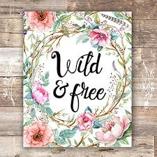 Wild and Free Floral Wreath Art Print - Unframed ... - Amazon.com