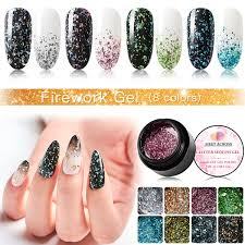 <b>MEET ACROSS Fireworks</b> Gel <b>Nail</b> Polish Diamond Glitter UV Gel ...