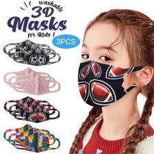 3PC Kids Unisex Printed <b>Ice</b> Silk Face Mask <b>Washable Reusable</b> ...