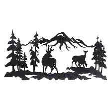 tree scene metal wall art: mountain scene metal outdoor wall art
