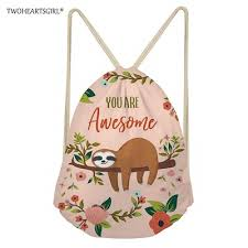 store Twoheartsgirl Cute Sloth Drawstring Bag Children ... - Qoo10