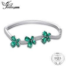 <b>JewelryPalace Butterfly</b> 3.7ct Created Emerald <b>Bangle Bracelet 925</b> ...