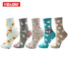 YEADU <b>5 Pairs lot</b> Multicolor Cute Cotton <b>Women's</b> Socks <b>Funny</b> ...