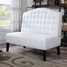 Upholstered Dining Room Bench With Back Classy White Tone Dining Banquette With Tufted Back Of Upholstered