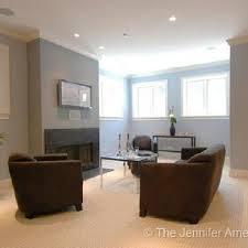 basement family room blue walls brown furniture
