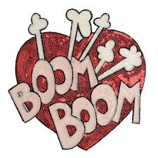 <b>GUGUTREE embroidery Sequins big</b> love heart patches boom ...
