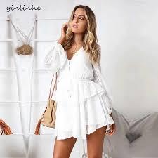 yinlinhe <b>White</b> Chiffon Playsuit Long Sleeve V neck Black ...