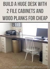 sewing studio idea 2 file cabinets 1 plank best diy desk ever building an office desk