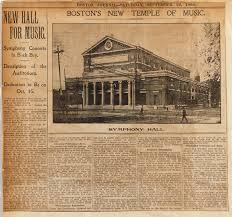 「1900, Boston Symphony Hall from the south.jpg」の画像検索結果
