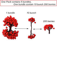 CCINEE <b>Artificial</b> Red Berry <b>Stamens</b> 500pcs Red Berry Stems for ...