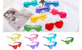 <b>One Piece</b> Heart Shaped Rimless Sunglasses <b>Transparent Candy</b>
