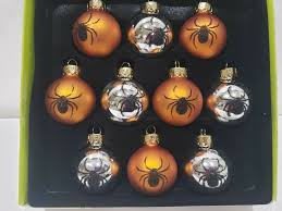 <b>Halloween</b> Christmas MINI Glass Ball Orange <b>Spider Ornaments</b> 1.5 ...
