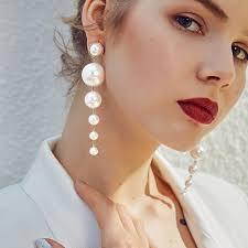 China <b>Trendy Elegant Created Big</b> Simulated Pearl Long Earrings ...