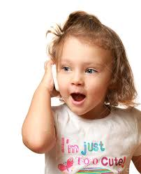 <b>Happy baby</b> girl talking on <b>mobile phone</b> isolated on white ...