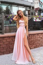 <b>Elegant</b> A Line Sweetheart <b>Spaghetti Straps Chiffon</b> Slit Pink Long ...