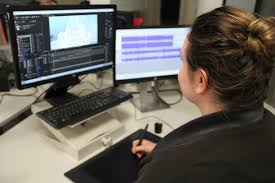 film and video editor eleanor beeden editing a corporate video