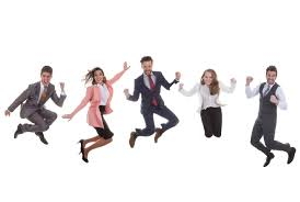 steps to leap from personal anxiety to professional achievement happy business team group jumping for success