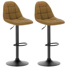 Leatherette <b>bar stools</b> with backrests - <b>2pcs</b> set in brown marron