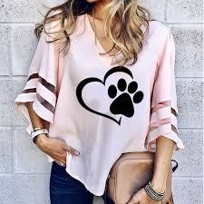 2019 <b>Dropshipping New Fashion</b> Dog Paw Print Women Sexy V ...