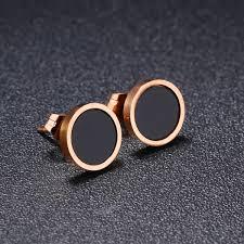 2019 Popular Black <b>Round Earrings</b> Titanium Steel Rose Gold ...