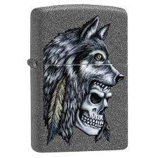 <b>Зажигалка ZIPPO Wolf</b> Skull с покрытием Iron Stone™, латунь ...