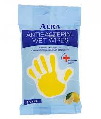 <b>Влажные салфетки антибактериальные 15 шт</b>. Aura — купить в ...