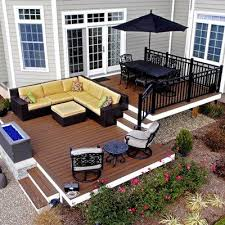 Outdoor Deck Design Ideas trex transcends decking steel framing and custom aluminum railing with fire pit