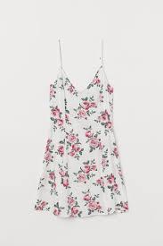 <b>V</b>-<b>neck</b> Slip-<b>style Dress</b> - White/roses -   H&M US