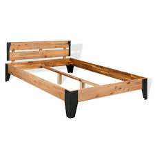 vidaXL <b>Bed Frame Solid Acacia</b> Wood Steel 140x200 cm ...