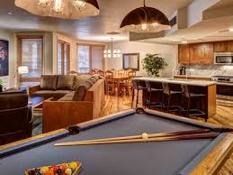 kitchen room pull table: pool table with view of kitchen living room and private balcony