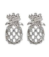 pineapple crystal stud earrings for women luxury rhinestone inlaid earring summer statement ladies fashion jewelry bijoux 2019