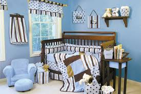 baby nursery boy colors polka fot patterns and bold geometric stripes in brown yellow pale blue boy high baby nursery decor