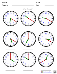 Time Worksheets | Time Worksheets for Learning to Tell TimeIdentify the Time by the Hands Worksheets