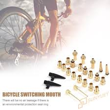 se】<b>24pcs</b>/<b>set</b> Aluminum Alloy <b>Bicycle Valve Conversion</b> Nozzles ...