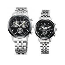 Skone 2 In 1 <b>Classic Stainless Steel Chain</b> Link Watch - Black Dial ...