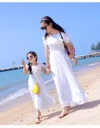 <b>New Hot Sale</b> Mom and Daughter Dress <b>White</b> Lace Collar ...