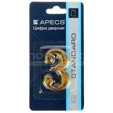 <b>Номер на дверь Apecs</b> «3» DN-01-3-Z-G в Курске: отзывы, цены ...