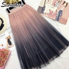 Surmiitro Long Tulle Skirt Women <b>2019 Autumn</b> Gradient Korean ...