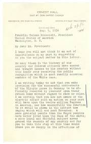 jesse owens american hero rediscovering black history letter from pastor ernest hall to president roosevelt 8 5 1936