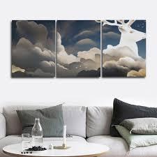 <b>Laeacco 3 Panel</b> Scandinavian Canvas Paintings Cloud Shaped Elk ...