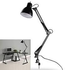 mabor 110v 240v black led flexible swing arm clamp mount desk lamp table light reading for home office studio study bright