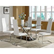 modern wood dining room sets: modern chrome dining room set w white chairs
