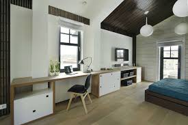 bedroommodern home office using pendant llight also blue slipcover and wooden bed frame also blue modern home office