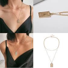 Длинное ожерелье-чокер с буквенным принтом, женское ...