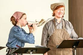 new chapters accolades fond farewells in s literary scene rose arrowhead decoux blows mary lee s cow horn during a rehearsal for cow calls in