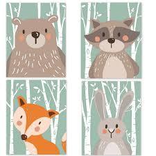 Nordic Minimalist Decoration Painting <b>Cute</b> Animal for Kids <b>Bear Fox</b> ...
