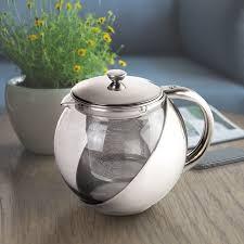 <b>1Pcs Stainless Steel</b> Glass TeaPot with <b>Tea</b> Leaf Strainer Filter ...