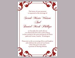 diy wedding invitation template editable word file instant  wedding diy wedding invitation template editable word file instant elegant printable invitation red wedding