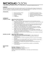 agriculture environment resume examples agriculture field technician resume sample