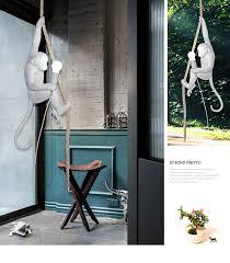 Modern Resin Monkey Loft <b>Vintage Hemp Rope Pendant</b> Light For ...